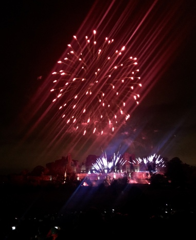 Kenilworth Castle with Red Fireworks